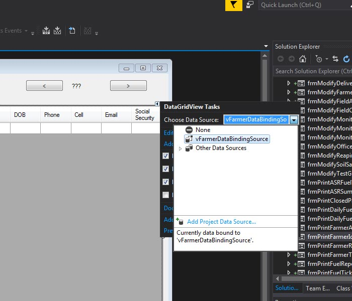 Add Project Data Source Visual Studio IDe