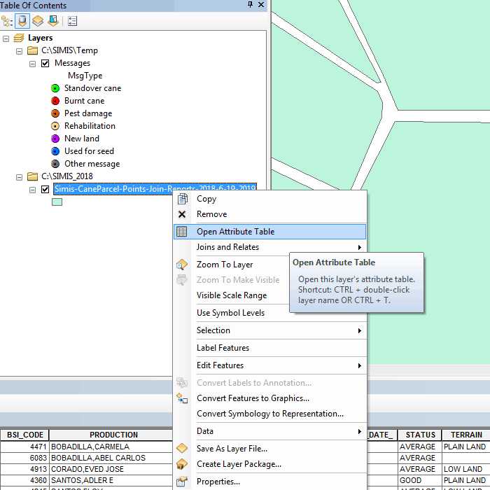 Arcmap attribute table
